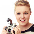 Pretty young woman with vintage camera kit — Stock Photo