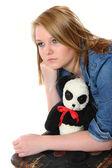 Bardzo nastoletnie dziewczyny obaw o wychodzenia z domu — Zdjęcie stockowe