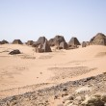 Pyramids in the desert — Stock Photo