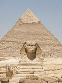 Sphinx and the pyramid — Stock Photo
