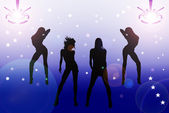 Illustration of four sexy girls in the disco — Stock Photo