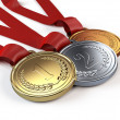 Gold, Silver and bronze medals — Stock Photo