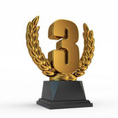 Third place trophy cup — Stock Photo