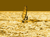 Solitary windsurfer — Stock Photo