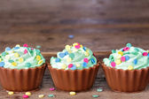 Colorful chocolate cupcakes — Stock Photo
