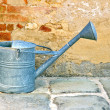Old metal watering can by a rustic brickwall -  