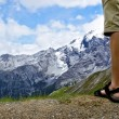 Male hiker at the top of the mountain — Stock Photo