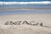 Beach written in a sandy beach — ストック写真