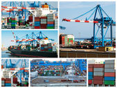 Cargo shipping collage — Stock Photo