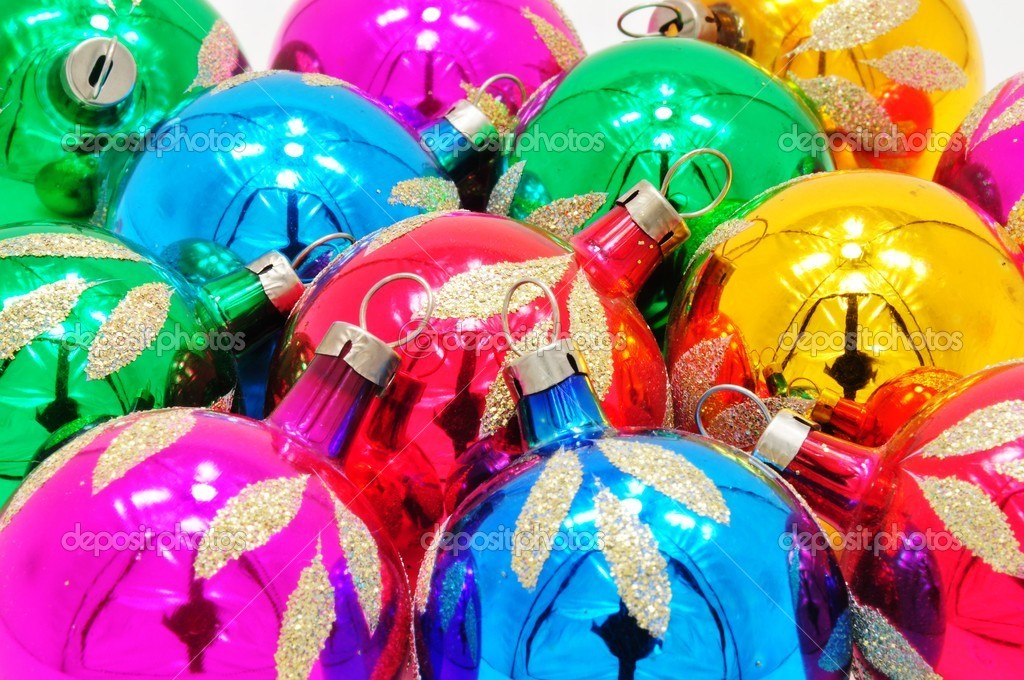 Very bright colored Christmas ornaments with reflections — Stock Photo #11940866