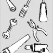 Royalty-Free Stock Vector Image: Sketch style hand tools collections.