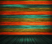 Colorful Orange Painted Wooden Interior — Stock Photo