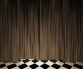 Sepia Vintage Curtain Spotlight Stage Background — Photo