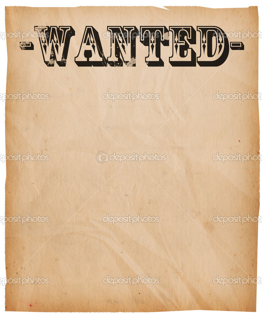 Blank Wanted Poster Paper Vintage Wanted Poster