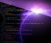 Space html Code Violet Background — Stock Photo