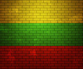 Flag of Lithuania on Brick Wall — Foto Stock