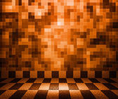 Orange Chessboard Mosaic Room Background — Stock Photo