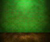 зеленая кирпичная стена — Стоковое фото