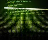 Program kodu yeşil arka plan — Stok fotoğraf