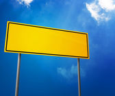 Cartello stradale bianco giallo — Foto Stock