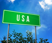 USA on Road Sign — Stock Photo