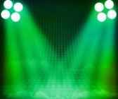 Groene showroom schijnwerpers etappe achtergrond — Stockfoto