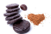 Instant coffee in the form of heart, a chocolate and cookies on — Foto de Stock