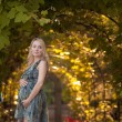 Beautiful pregnant girl in park at sunset — Stock Photo #11588727
