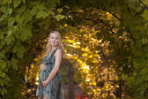 A beautiful pregnant girl in a park at sunset — Foto de Stock