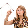 Business woman portraying a house — Stock Photo