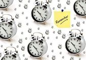 Remember note and alarm clocks — Stock Photo