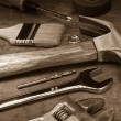 Tools and instruments on wood board — Stock Photo