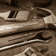 Tools and instruments on wood board - Stock Photo
