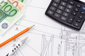Pen and pencil, calculator on drafting, finance — Stock Photo