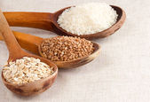 Oat, rice and buckwheat — Stock Photo