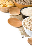 Several plate with rice and cereals — Stock Photo