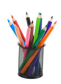 Holder basket full of pencils on white — Stock Photo