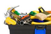 Werkzeuge in schwarz toolbox isoliert auf weiss — Stockfoto