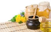 Honey, flowers, spike isolated on white — Stock Photo