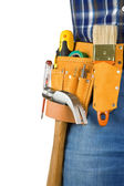Man and tools in leathern belt isolated — Stock Photo