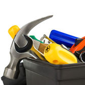 Set of tools in black toolbox — Stock Photo