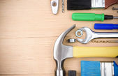 Set of tools on wood board — Stock Photo