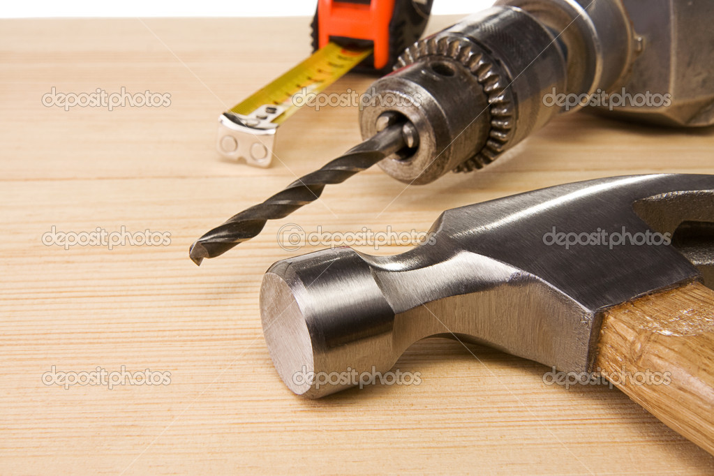 Tools  on wooden texture — Stock Photo #10750972