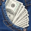 Dollars in jeans pocket — Stock Photo #10763116