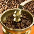 Coffee grinder and roasted beans — Stockfoto