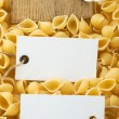 Raw pasta and price tag - Foto de Stock  