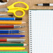 Stock Photo: School accessories and checked notebook