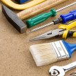 Construction tools on wood — Stock Photo