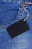 Preisschild auf jeans — Stockfoto