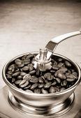 Kaffekvarn och rostade bönor — Stockfoto